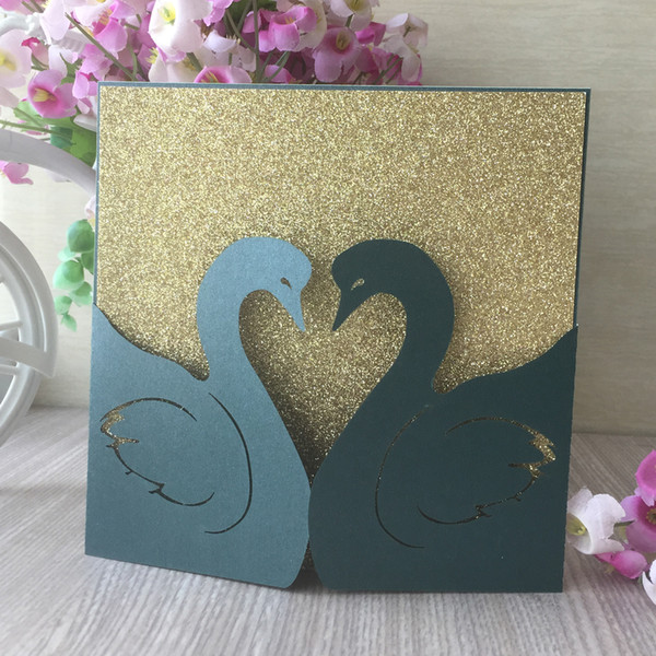 Hollow Laser Cut Wedding Invitation Card Decoration With Swan Loves Pattern Exquisite Design Grand Events Card Wedding Invitations Printing Wedding