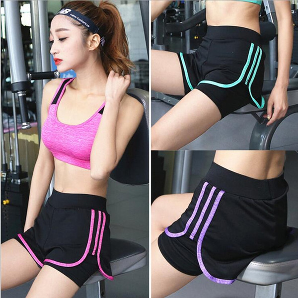 Women's Shorts Summer for Workout Active Short Fake Two Breathable Shorts Female Gym For Running Black Underpants S-XXXL #120419
