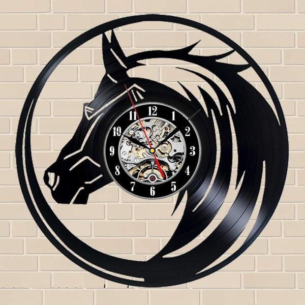 Лошадь Подарочные настенные часы Винил Art Decor Vintage
