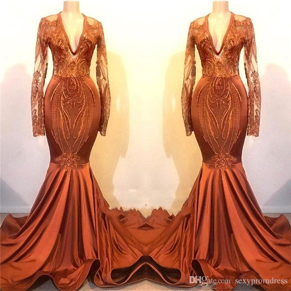V Neck Sheer Long Sleeves Prom Dresses 2019-2020 Lace Appliques Mermaid Evening Gowns Satin Piping Sweep Train Cheap Formal Party Dress