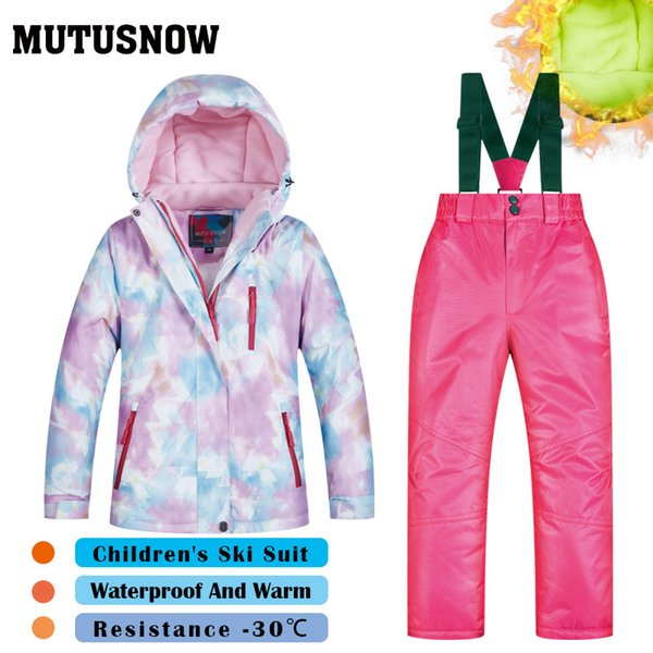 MUTUSNOW Girls Ski Suit Children's Brands High Quality Windproof Waterproof Snow Jacket+Pants Warm Child Winter Thick Snowboard Suit FSC