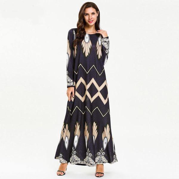 7709 Ramadan Muçulmano Vestido Mulheres Abaya Kimono Turquia Dubai Kaftan Arábia Saudita Vestuário Islâmico Turco Bangladesh Imprimir Robe Elástico