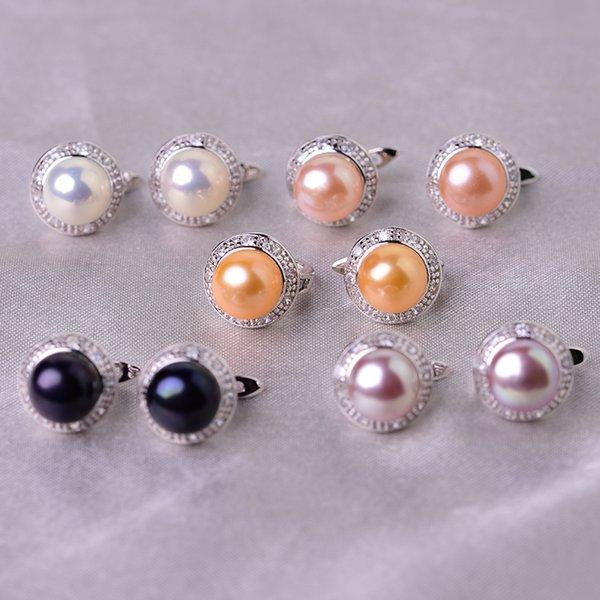 Stud YIKALAISI 925 Sterling Silver Jewelry Pearl Earrings 2019 Fine Natural Pearl jewelry 8-9mm stud Earrings For Women wholesale