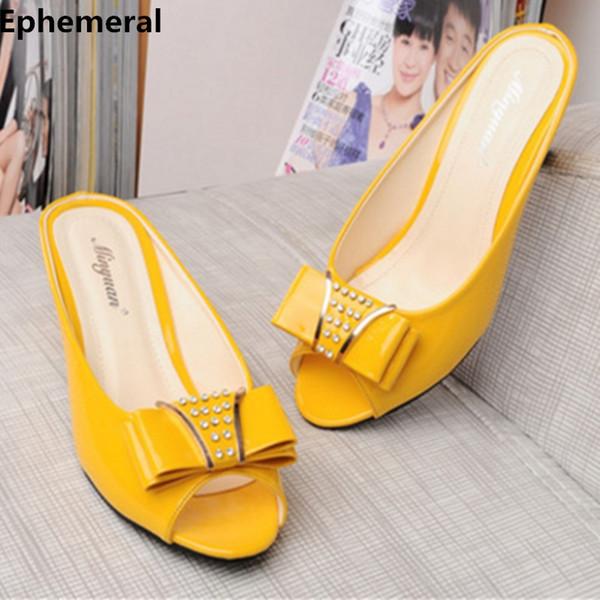 Women Peep Toe Slides High Heels Spike Bow Rhinestone Meed Heel Slippers Soft Patent Leather Summer Shoes Black White Plus Size