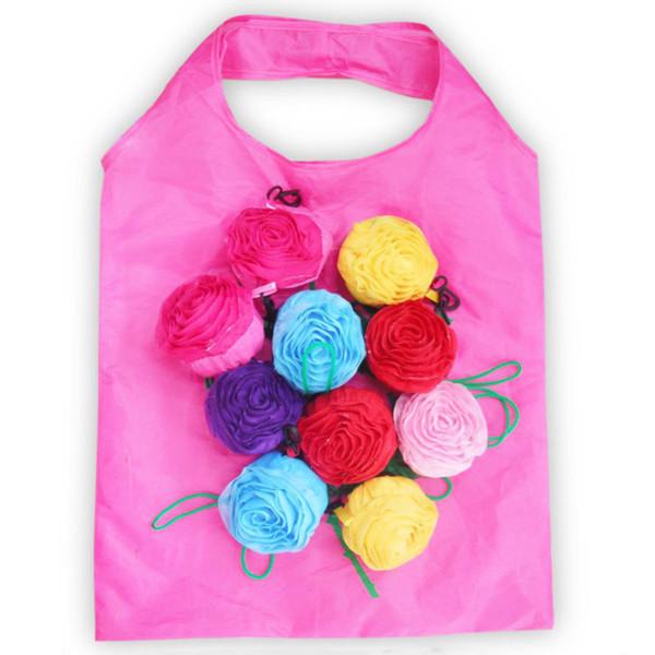 Multi-cor Rose Flor Reutilizável Eco Saco De Armazenamento De Armazenamento Dobrável Saco De Armazenamento De Grande Capacidade reutilizável Para Supermercado de Viagem