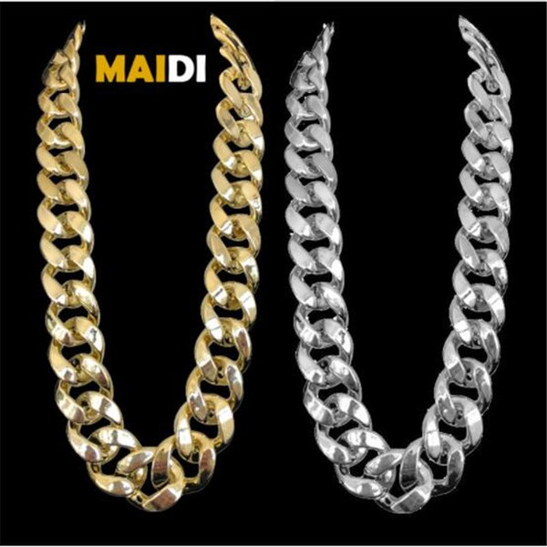 Hip-hop Exaggerated Gold Chain Necklaces Plastic Imitation Gold Necklace Nightclub Accessories Iced Out Bling Cuba Necklace Set