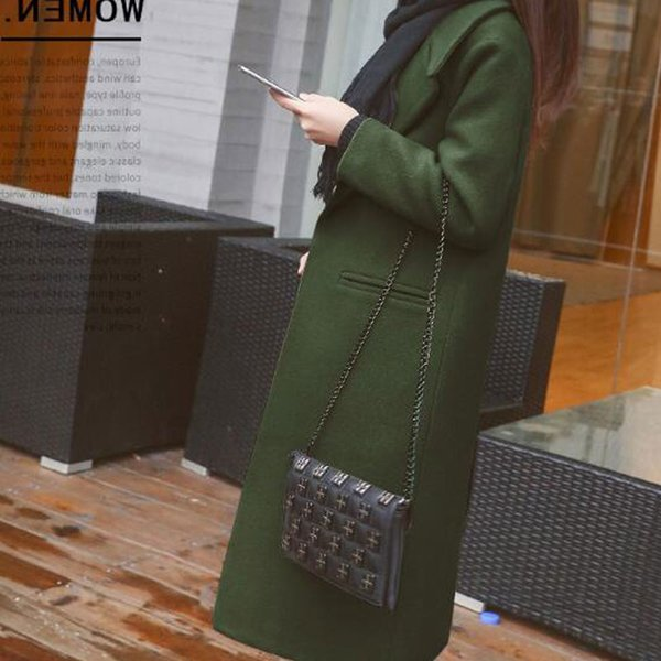 1pc spring autumn women's wool coat new fashion long woolen coat single breasted slim type female autumn winter wool coats thumbnail