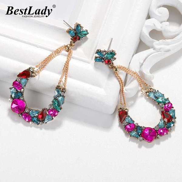 Multi Color Wedding Glass Crystal Drop Earrings For Women New Design Luxury Shiny Fish Flowers Dangle Earring Party