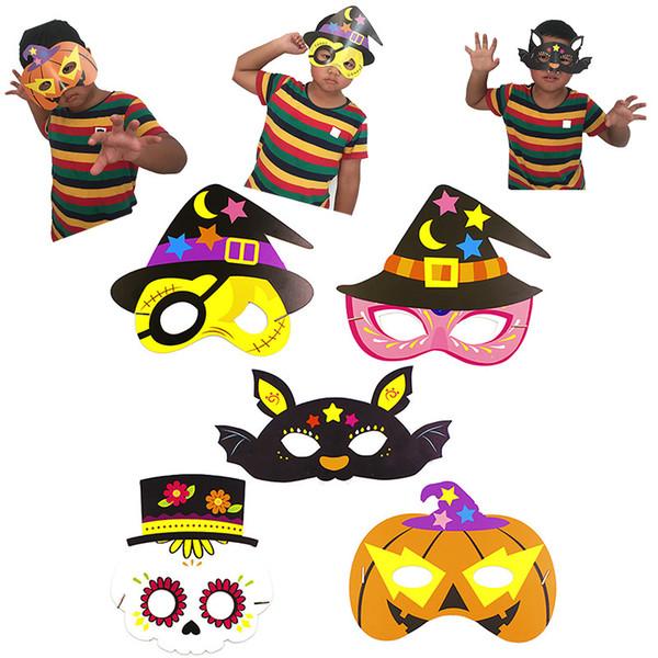 Máscara de Cosplay de Halloween DIY Papel de dibujos animados lindo Máscara de Halloween Accesorio de disfraz para niños Niños