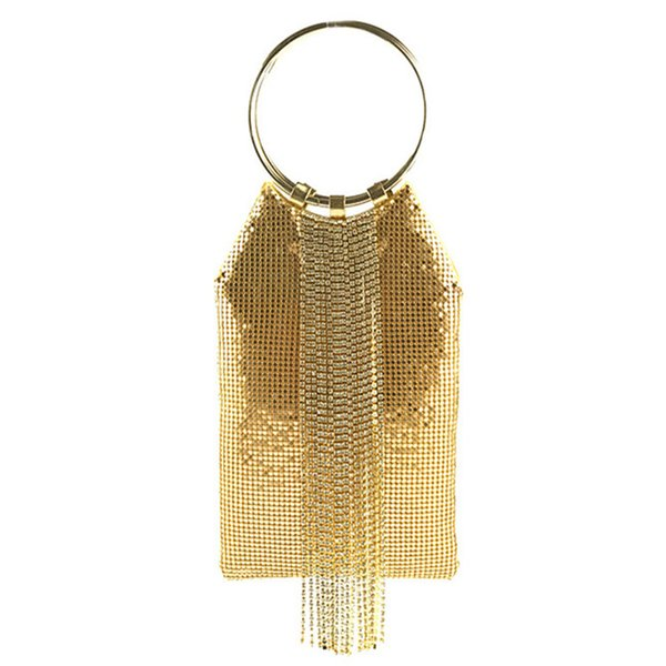 Bolsos de borla de diseñador de Luxuey Pulsera redonda Fiesta de tarde Bolso de embrague Bolsos de diamantes de imitación Bolso de hombro