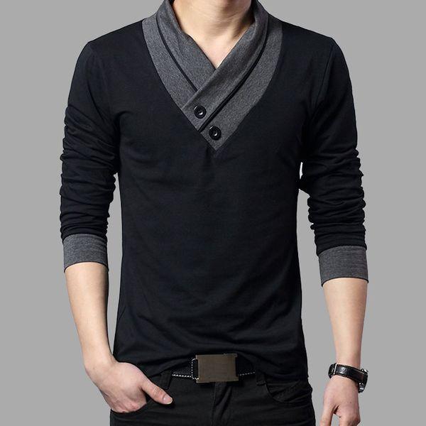 2017 Moda Marka Trendi Slim Fit Uzun Kollu Gömlek Patchwork Yaka Tee V Yaka Erkek T-shirt Pamuk T Gömlek Artı Boyutu 4xl C19041702