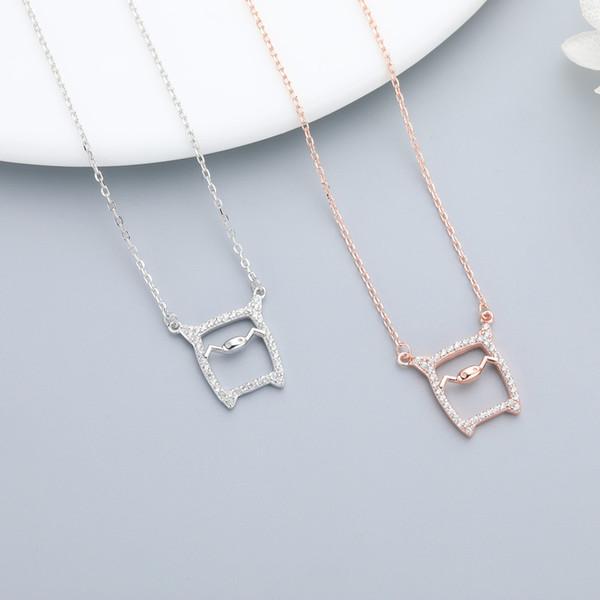 S925 argent sterling zircon cochon mignon pendentif collier dames mode simple chaîne de clavicule collier bijoux cadeau 6-XL1092