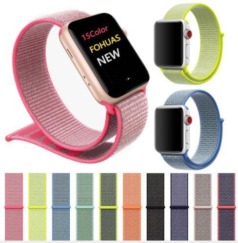 Für Apple Watch iWatch Band 44mm 40mm 42mm 38mm Nylon weich atmungsaktiv Sport Schleife einstellbar Verschluss Handschlaufe für Apple Watch 4 3 2 100stk