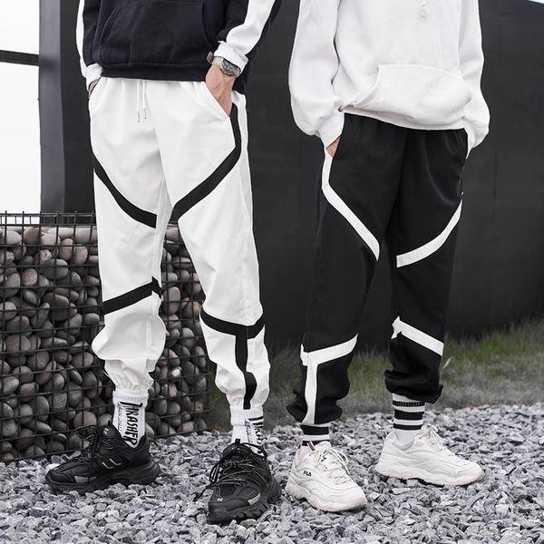 Januarysnow Hip Hop Joggers Pants Mens Autumn Drawstring Waist Loose Track Sweatpants Hip Hop Trousers Streetwear Black White S-XXL