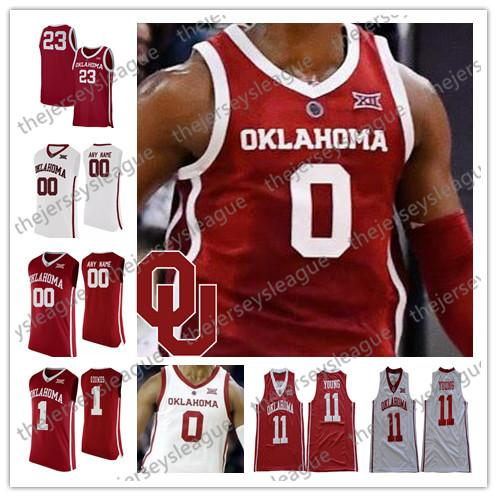 Oklahoma Sooners Custom Any Name Number 2019 New Red White Stitched NCAA College Basketball Jerseys #0 Christian James 2 Aaron Calixte