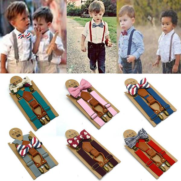 Children Toddler Baby Elastic Combo Set Wedding Burgendy Suspender /& Bowtie