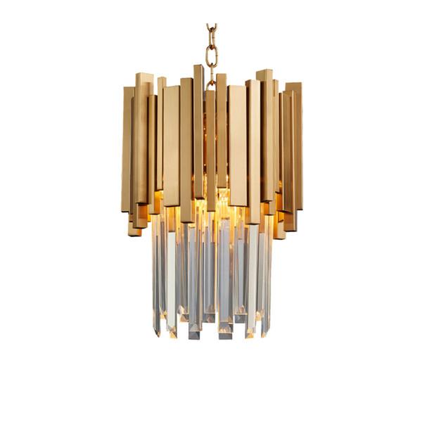 Araña de oro que ilumina el comedor de una luz LED Lámpara de cristal moderna Isla de la cocina Colgante Cadena Cristal Lustre