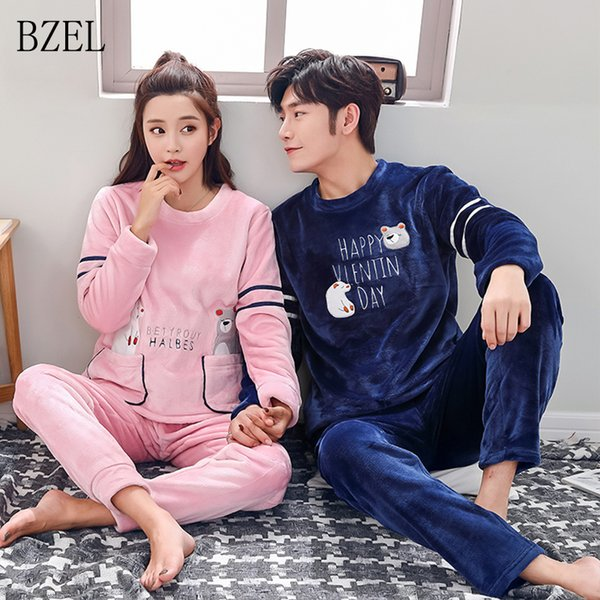 BZEL Winter Flannel Couples Pajamas Sets New Cartoon Warm Pajamas Long-sleeved Sleepwear Round Neck Lovers' Cloth Housewear Suit