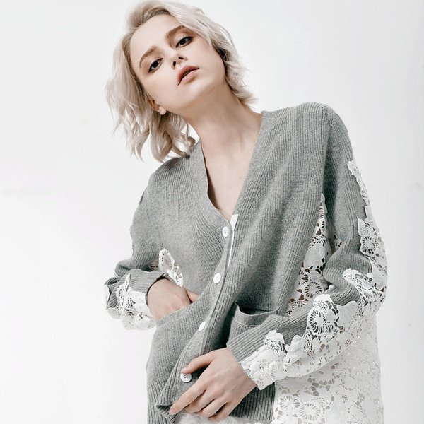 Nice Spring New Fashion Women Sexy Back Lace Hollow Patchwork Long Sleeve Knitted Sweaters Cardigan