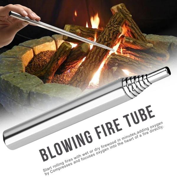Aço inoxidável 93 milímetros Blowpipe Camping Ferramenta fogo bolso fole dobrável fogo Tubo Outdoor Gear para a caça Viagens Pesca