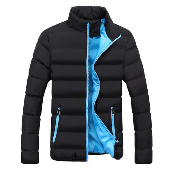 New Winter Jacket Men Stand Collar parka mens Cotton Padded Parka Thick Zipper Slim Men Coat Outwear Warm Male Overcoat