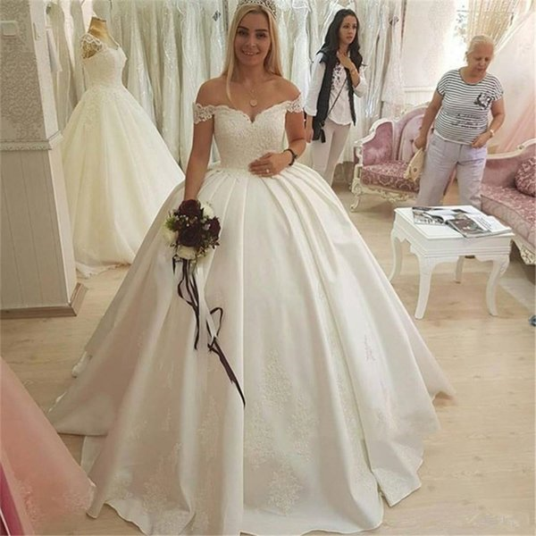 2019 White Ball Gown Wedding Dress High Quality Satin Appliques Off The Shoulder Boat Neck Custom Made Bridal Dresses Cheap