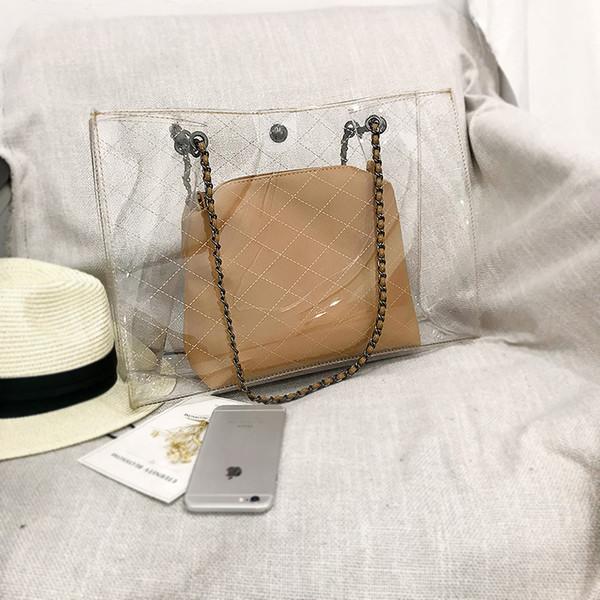 3 cores 2018 atacado de alta qualidade europa e américa moda verão novo lazer transparente pvc geléia sacos de ombro único sacos de praia