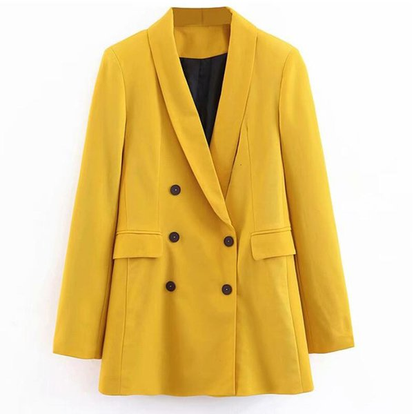 2019 Women Double Breasted Long Blazers Office Lady Small Suit Jacket Ladies Leisure Yellow Blazer Loose Coat Streetwear Y190925