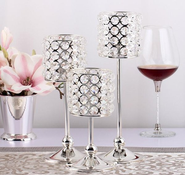 10pcs luxury silver crystal beaded votive candle holder candelabra candlestick crylinder shape event wedding party table decoration SN1967