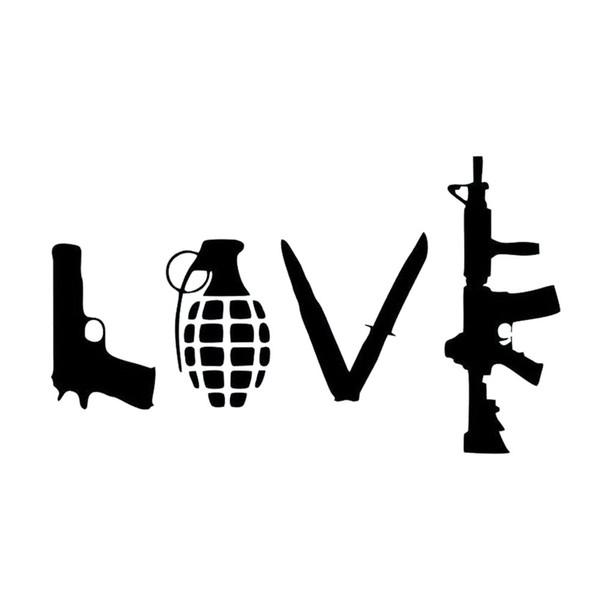 Love Gun Sticker Grenade Pattern Window Decoration Door Decals Personalized Accessories Decoration