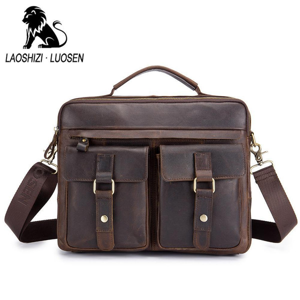 LAOSHIZI LUOSEN Man Genuine Leather Vintage Men Bag Handbag Business Casual Mens Travel Laptop Shoulder Messenger Bag Briefcase