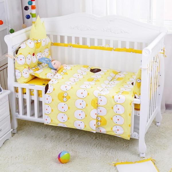 5 pièces Cartoon Design Été pare-chocs Crib côté long Air Mesh Lit bébé Bumpers Couronne drap de lit en coton Dossier Ensemble Literie de bébé
