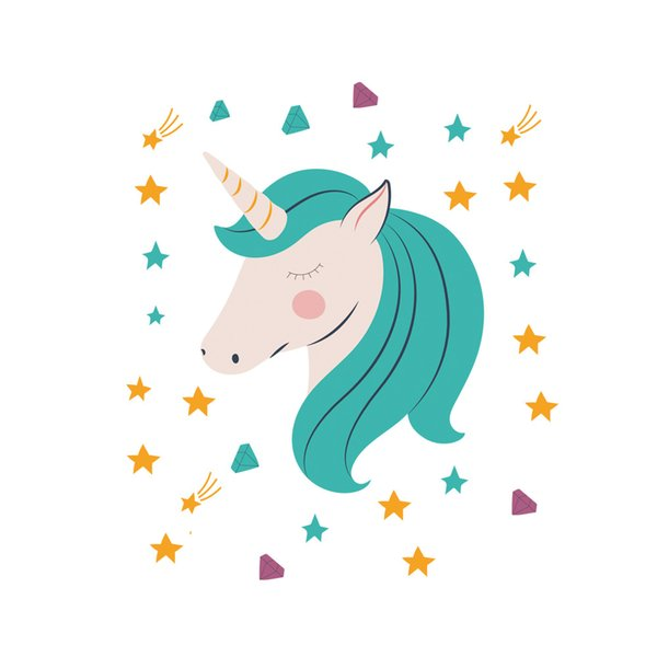 1PC Kawaii Unicorn Stickers Cute DIY Wall Sticker Animal Horse Party Decor Princess Room Decoration Kids Birthday Gifts