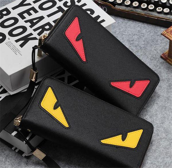 High-quality pu leather fashion mens long purse wallet men's designer zipper clutch bags pocket European style cross-wallet black 1pc