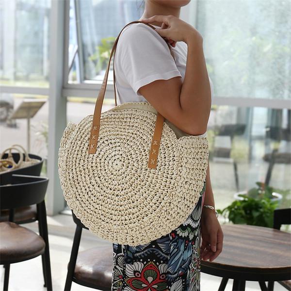 Rotonda Beach Straw borse vintage tessuta di spalla delle donne della borsa Rattan Boemia Estate Wicker tote del progettista di marca di moda grande