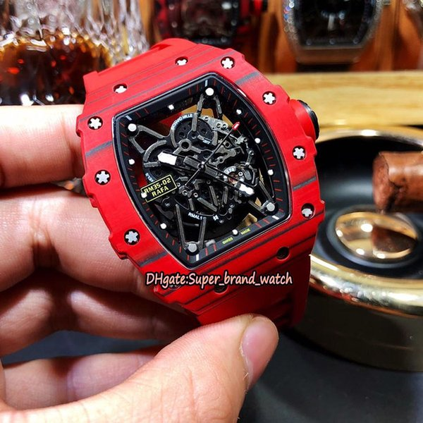 16-Color RM 35-02 NTPT Best All Carbon Fiber Pattern Red Case Skeleton Dial Japan NH Automatic RM35-02 Mens Watch Rubber Strap Sport Watches