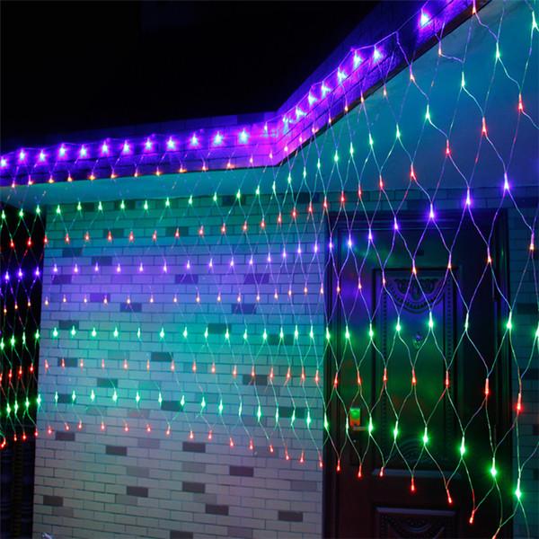 110v 220v stringa vacanza matrimonio lightWARM BIANCO RGBY natale lampada della decorazione LED Net luce Fata scintillio