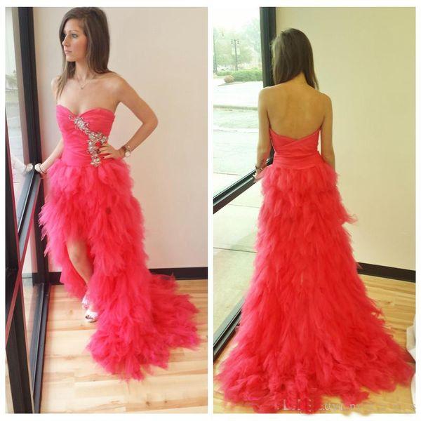 2019 New Lovely Hot Pink Prom Dresses Breve anteriore lungo posteriore Tulle Sweetheart aperto indietro a strati abiti da sposa a pieghe lunghe