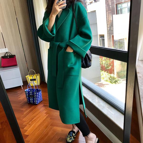 Velvet Green Cashmere Europe Station Side Vent Major костюм Пояс Халат фонд Двустороннее буддийская монахиня Шинель осень зима пальто для женщин