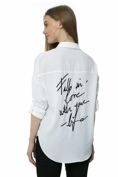 gemglobal / Ecru Voltar Bordado Camisa Mulheres Branco