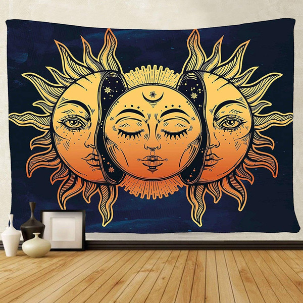 Tenaly Tapestry Wall Hanging, sun and moon Psychedelic small Wall Tapestry with Art chakra Home Decorations for Bedroom Dorm Decor in 51x60