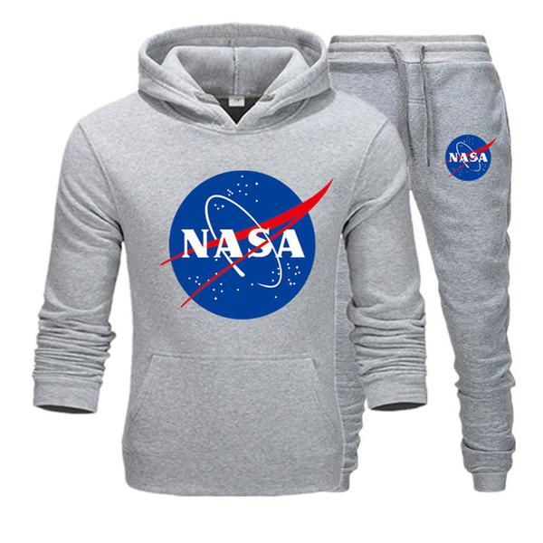 Модельер NASA Спортивный костюм Весна Осень Повседневная Мужская Марка Спортивная Мужская Спортивные Костюмы Высокое Качество Толстовки Мужская Одежда T15