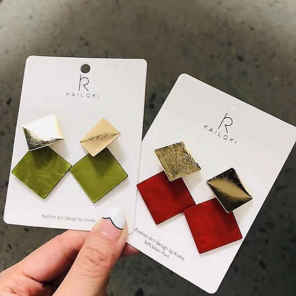 Square Metal Stud Earrings Acrylic Stitching Earrings characteristics Geometric Design Earrings For Girls Gifts New Design