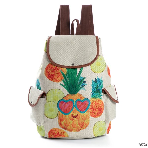 Originality Fund Pineapple Printing Both Shoulders Package Fruits Print Student A Bag Will Capacity Travel Backpack
