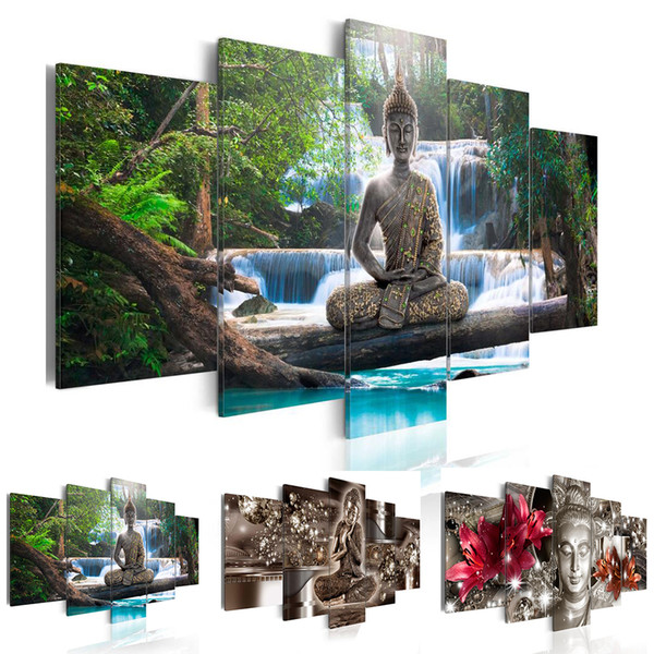 5 Panel Abstract Printed Buddha Painting Canvas Wall Art Home Decor Buddha Scenery Flower Picture For Living Room Unframed