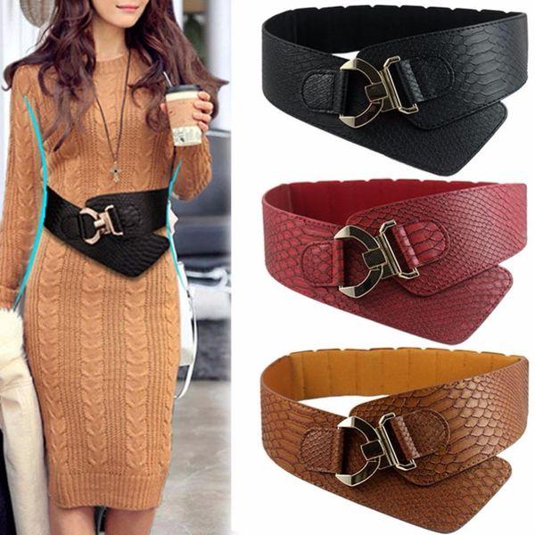Wide Elastic Cinch Belt Women's Rocker Fashion Belt Gold Metal Rivet Wide Belts For Dress Coat Cummerbund 105cm Retro Style