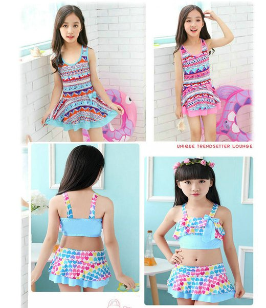 2f77b18221e 18 Colors New Arrival Kids Girls Two-pieces Swimwear Children Summer bathing  Suit Kids Striped Design Beach Swim Wear