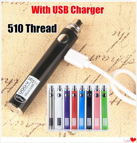 100% Original UGO V II vaporizers 510 Thread Battery Micro USB Passthrough Vape Pen 650 900 mAh EVOD eGo T Vape batteries with USB Charger