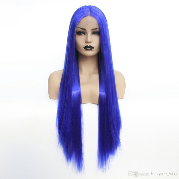 New Halloween 180% Density Realistic Looking Long Straight Blue Color Wig Gluelesss Heat Resistant Fiber Synthetic Lace Front Wig for Women