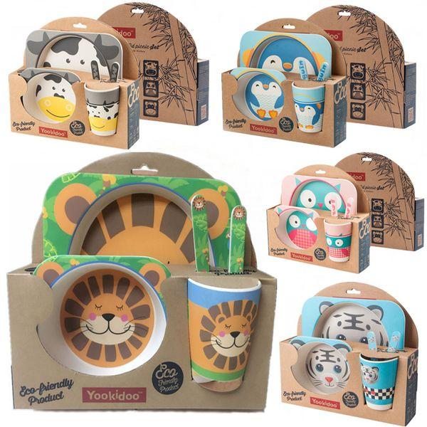Yookidoo 5pcs/set Unicorn Animal Zoo Baby Plate Bow Cup Forks Dinnerware Feeding Set 100% Bamboo Fiber Baby Children Tableware Y19061901